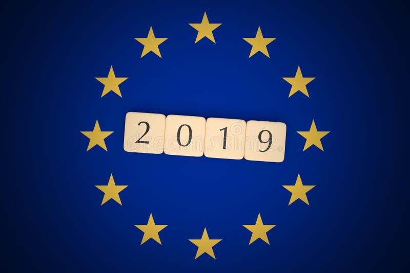 Letter Tiles 2019 With EU Flag, 3d illustration. European Union Politics News Concept: Letter Tiles 2019 With EU Flag, 3d illustration vector illustration