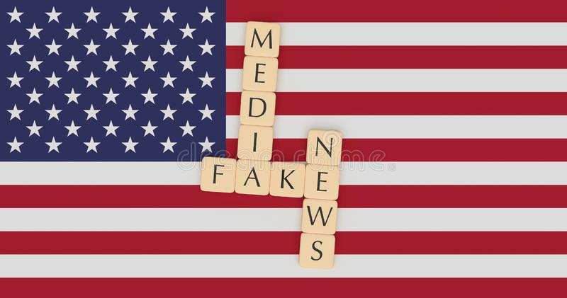 Letter Tiles Fake News Media On US Flag, 3d illustration. USA Politics News Concept: Letter Tiles Fake News Media On US Flag, 3d illustration royalty free illustration