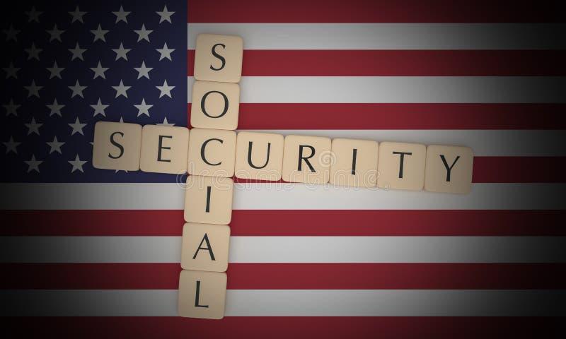 Letter Tiles Social Security On US Flag, 3d illustration vector illustration