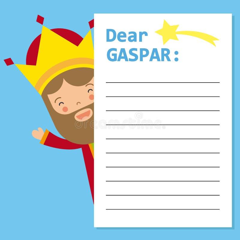 Letter to King Gaspar. Space for text. vector vector illustration