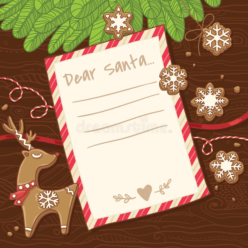 Letter to Santa Claus. Christmas card with gingerbread cookies. vector illustration
