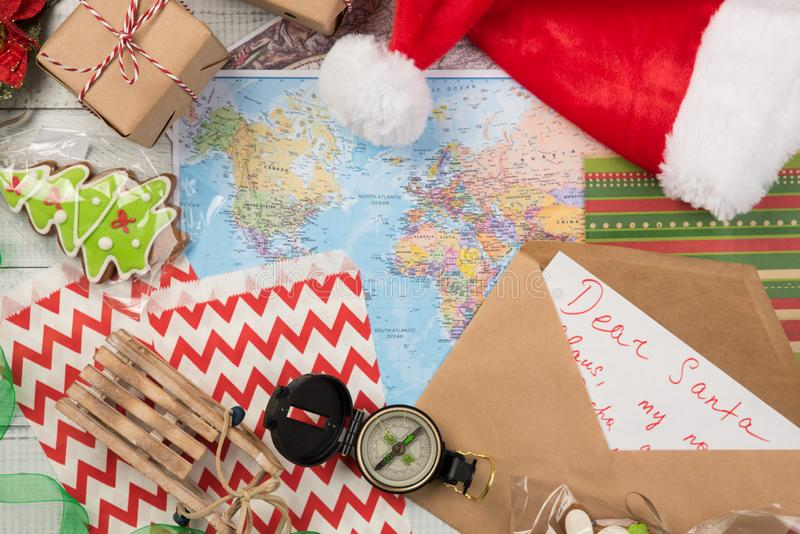 Letter to Santa Claus and compass and map. Christmas composition stock image