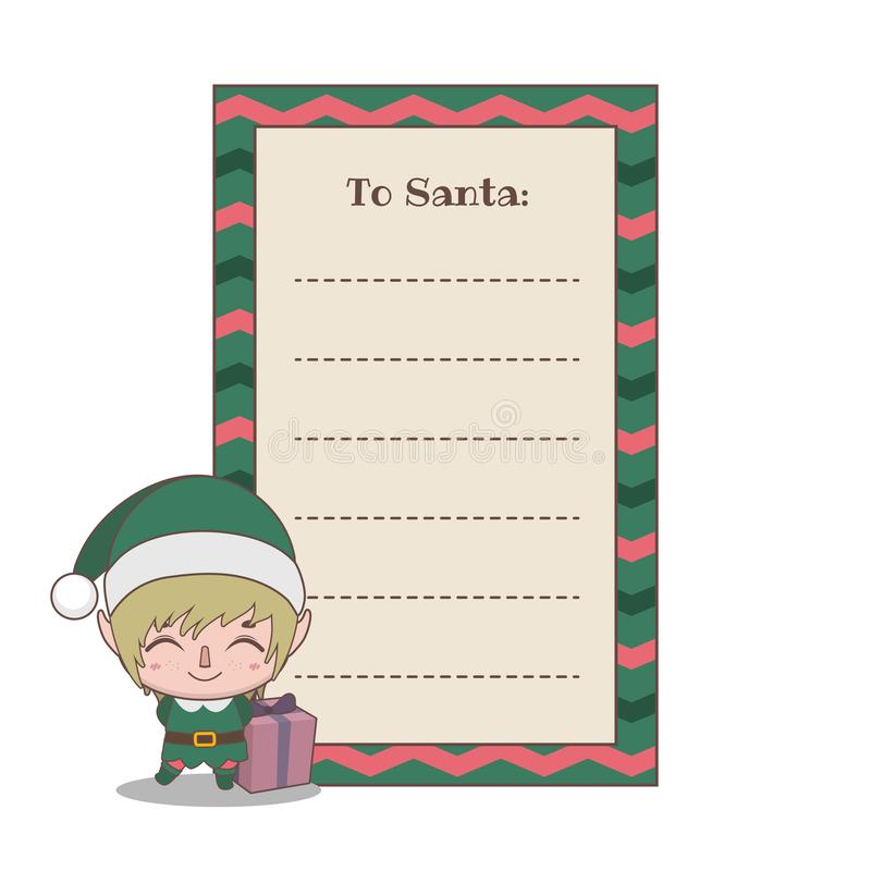 Letter to Santa Claus with a cute little elf helper royalty free illustration