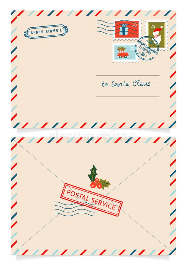 Letter to Santa Claus with stamps and postage marks. Dear santa claus mail envelope. Christmas surprise letter, child. Postcard with north pole postmark cachet vector illustration