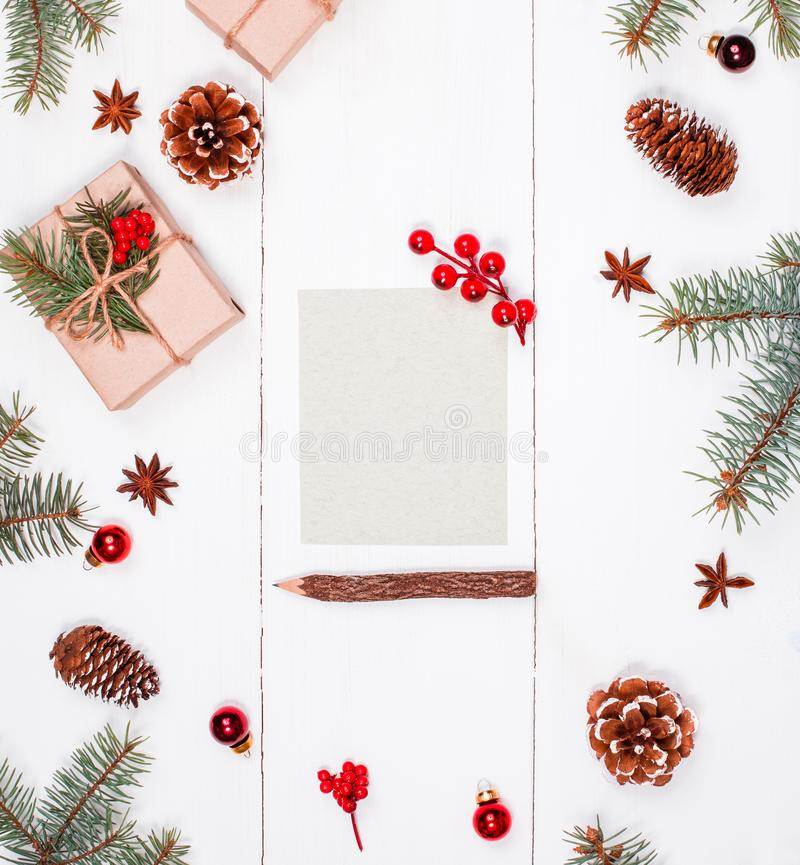 Letter to Santa on holiday background with Christmas gifts, Fir royalty free stock photos