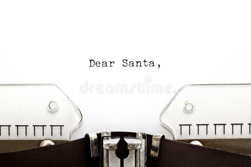 Letter to Santa on Typewriter. The beginning of a letter to Santa written on an old typewriter stock photography
