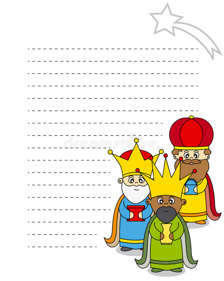 Letter to the Three Kings. Melchior, Gaspar and Balthasar vector illustration