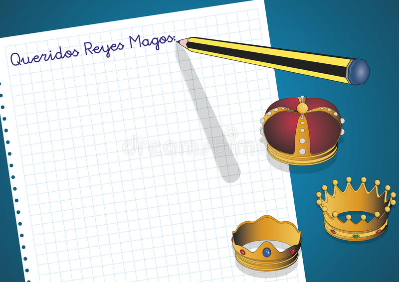 Letter to three kings of orient queridos reyes magos. Carta a los reyes magos. Letter to three orient kings. Spanish tradition on january, 6 where the three wise vector illustration