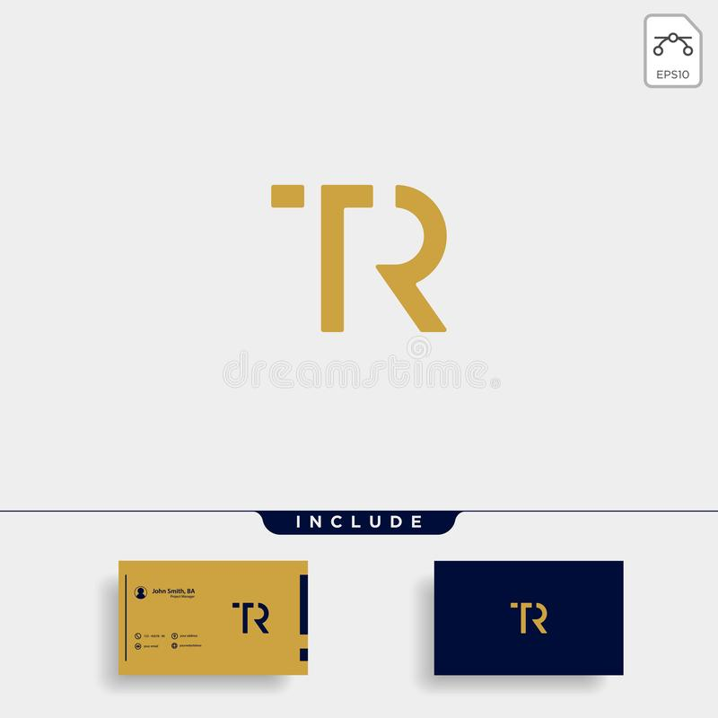 Letter TR RT T R Logo Design Simple Vector. Elegant, brand, initial, gold, typography, luxury, fashion, icon, business, logotype, concept, font, beauty vector illustration