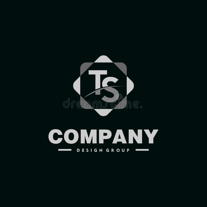 Letter TS Alphabet Company Logo Design Template with Geometric Rounded Square Element 皇族释放例证