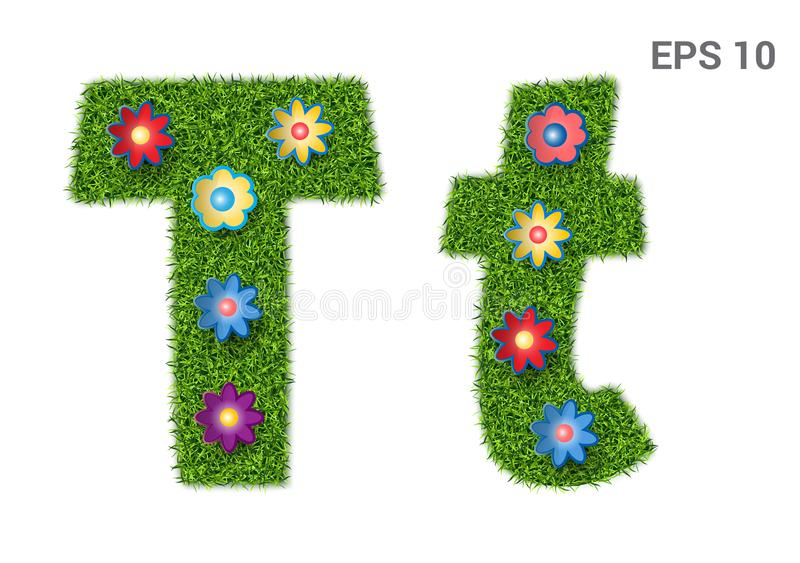 Letter Tt with a texture of grass and flowers. Tt - capital and capital letters of the alphabet with a texture of grass. Moorish lawn with flowers. Isolated on vector illustration