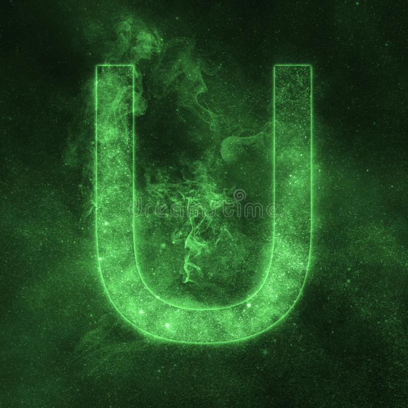Letter U alphabet symbol. Space Letter, Night Sky Letter. stock illustration