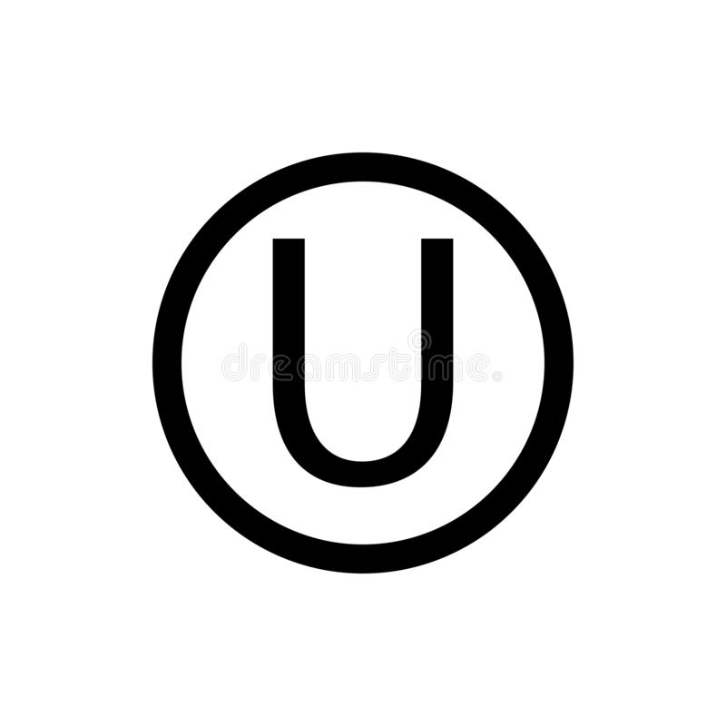 Letter U in a circle sign. White background.The hechsher, or kosher seal of the Orthodox Union is the most widely known kosher. Eps ten vector illustration