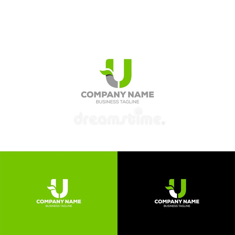 Letter U leave logo template. For organic, agriculture, food beverage company royalty free illustration