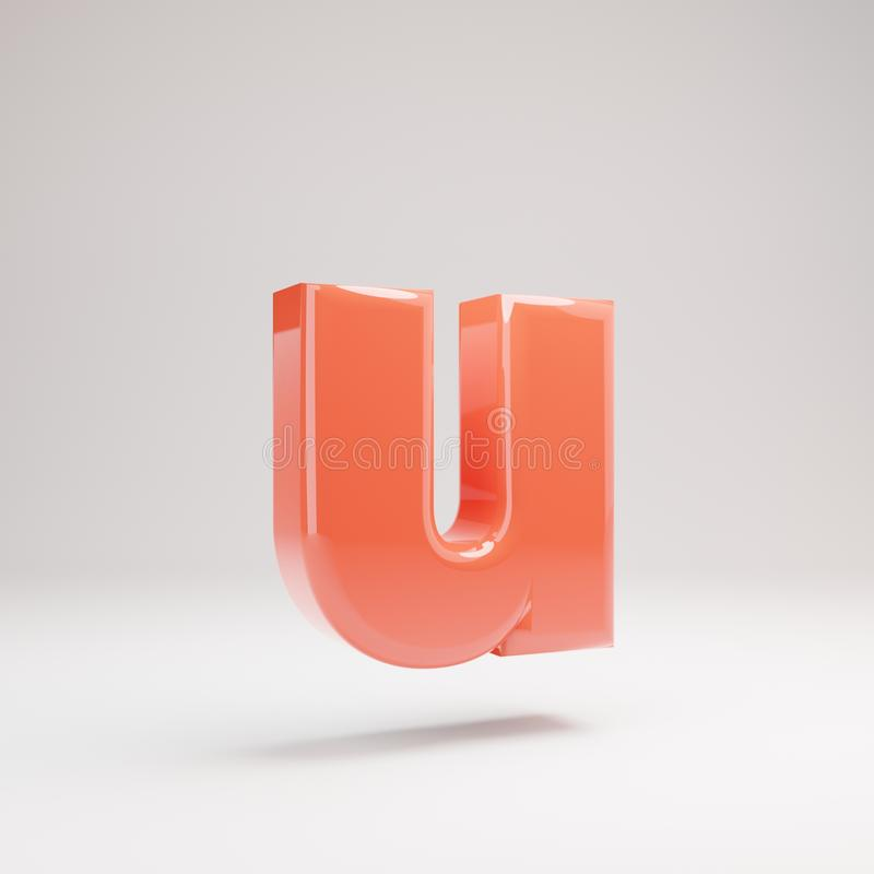 Letter U lowercase. Living Coral font with glossy reflections and shadow isolated on white background stock photo
