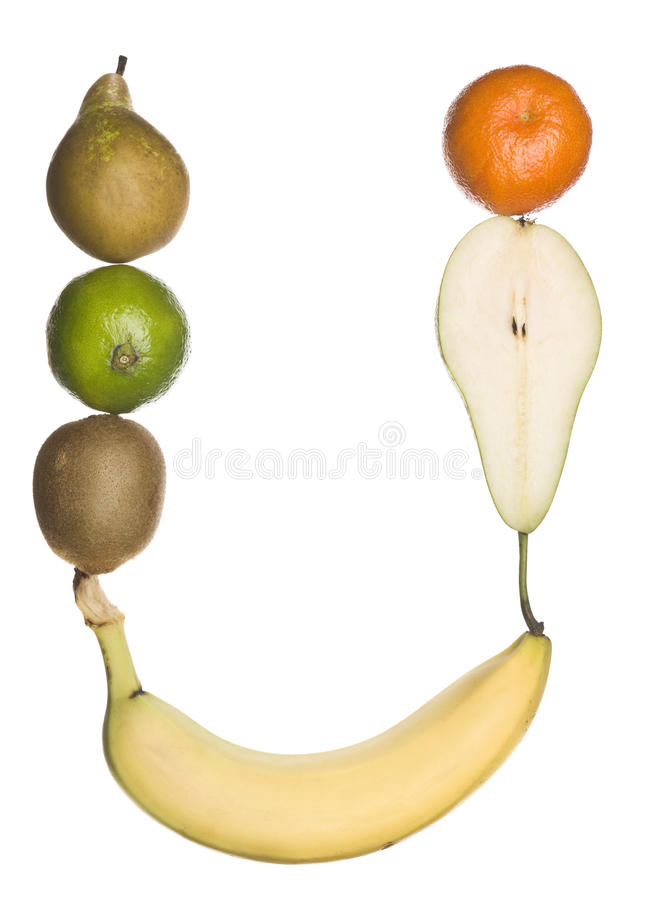 The letter 'U' made out of fruit royalty free stock photography