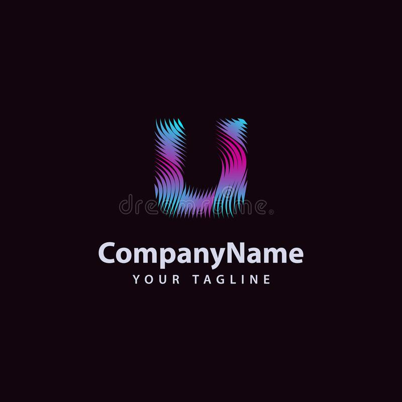 Letter U modern Wave line Logo design template royalty free illustration