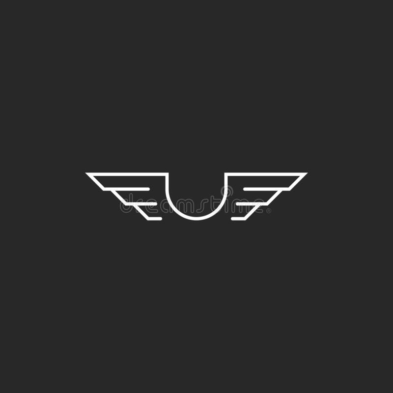 Free Letter U Monogram Wings Logo Mockup, Thin Line Design Element, Creative Idea Flying Emblem Stock Photo - 141058820