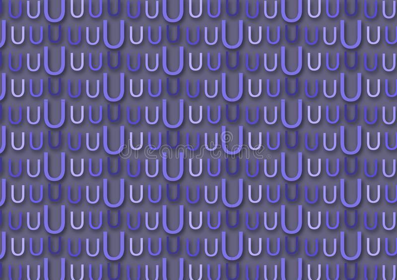 Letter U pattern in different colored blue shades. As background for wallpaper use vector illustration