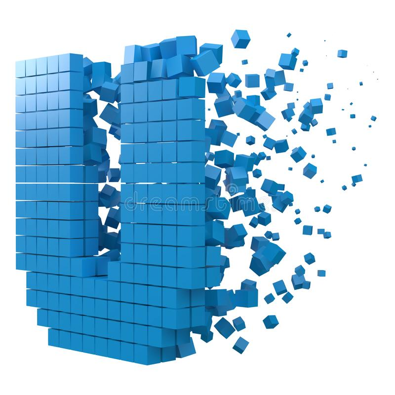 Letter U shaped data block. version with blue cubes. 3d pixel style vector illustration. Suitable for blockchain, technology, computer and abstract themes royalty free illustration