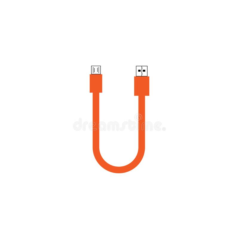 Letter U USB cable with orange color template. Vector royalty free illustration