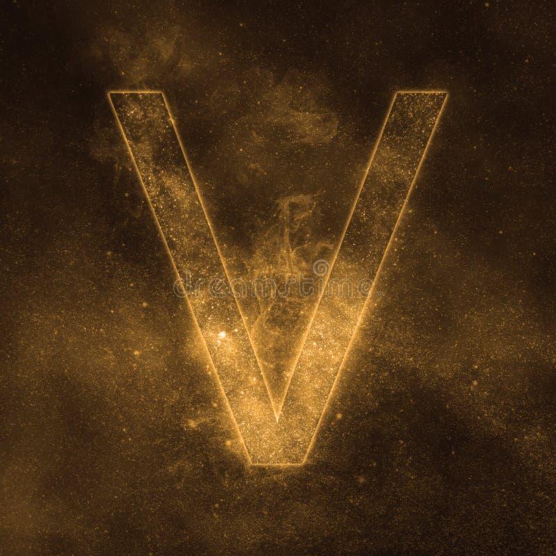 Letter V alphabet symbol. Space Letter, Night Sky Letter. Space letters stock illustration