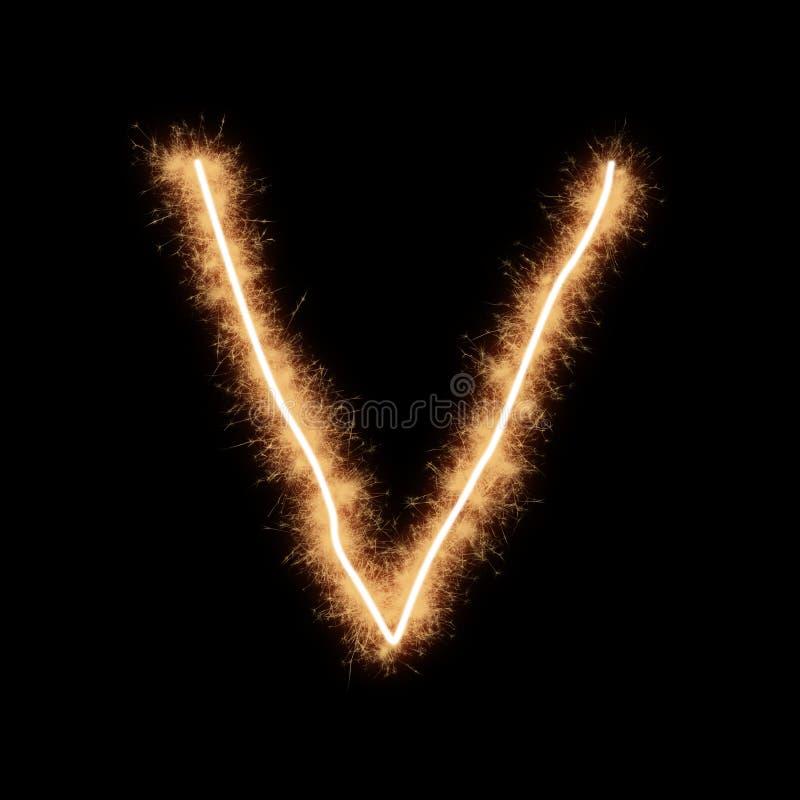 Letter V of alphabet on a black background. Letter V of alphabet written by squib sparks on a black background vector illustration