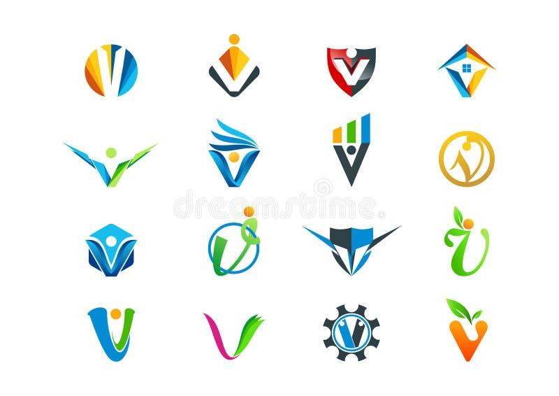 Letter v concept logo design. Abstract letter v concept logo design in a set stock illustration