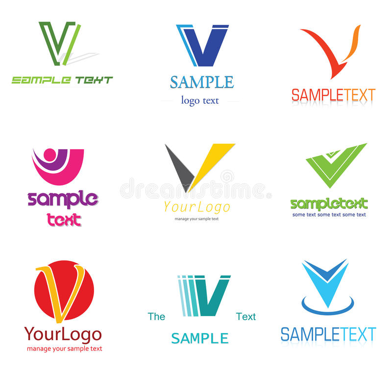 Letter V Logo. Alphabetical Logo Design Concepts. Letter V stock illustration