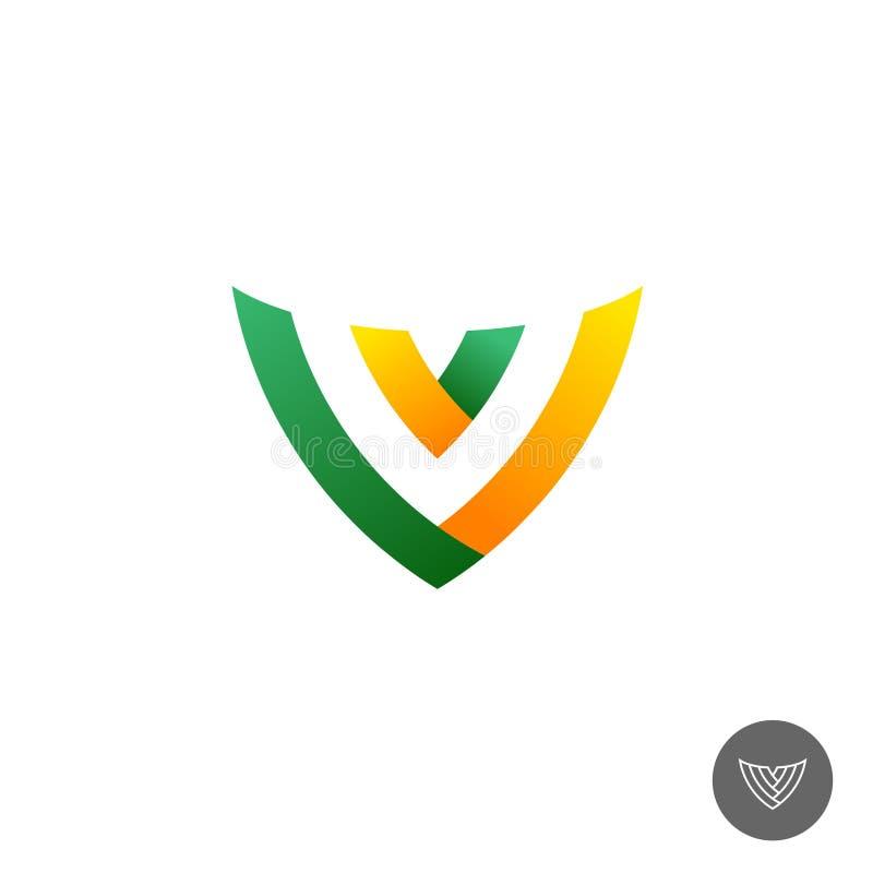 Letter V logo. Letter V color ribbons logo. Linear version included stock illustration