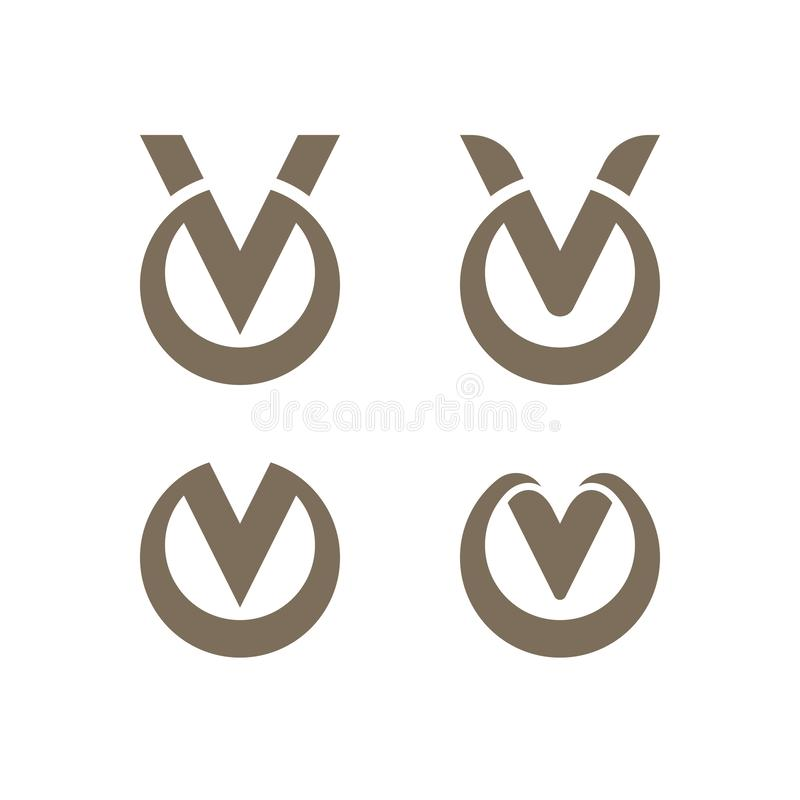 Letter V logo templates with circles 向量例证