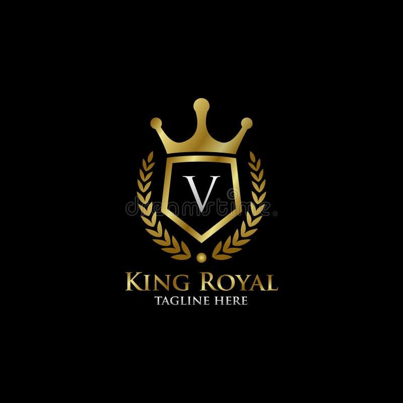 Initial V Luxury Shield Royal Logo. Letter V Luxury Shield Royal Logo , classy Elegant Logo with gold color in black background royalty free stock images