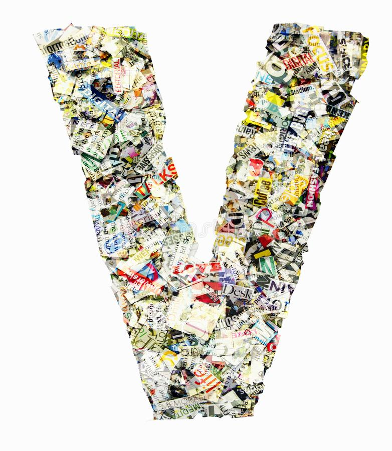 The letter V made from newspaper and magazine isolated royalty free stock photos