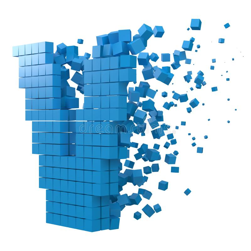 Letter V shaped data block. version with blue cubes. 3d pixel style vector illustration. Suitable for blockchain, technology, computer and abstract themes vector illustration