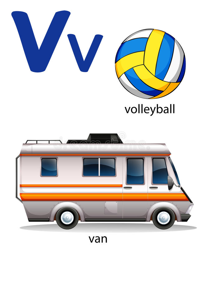 Letter V for volleyball and van vector illustration