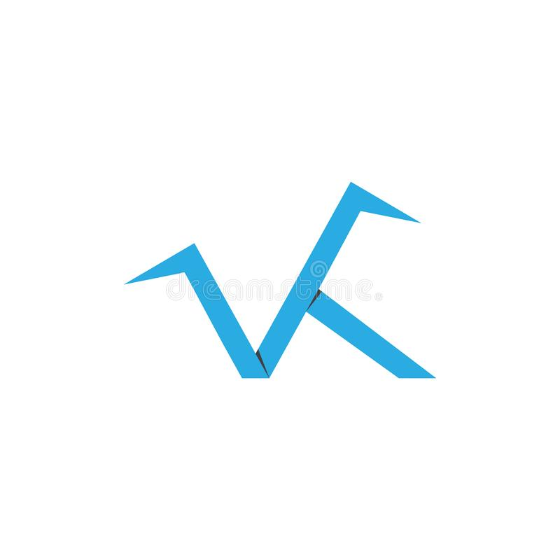 Letter vk simple paper origami logo vector vector illustration