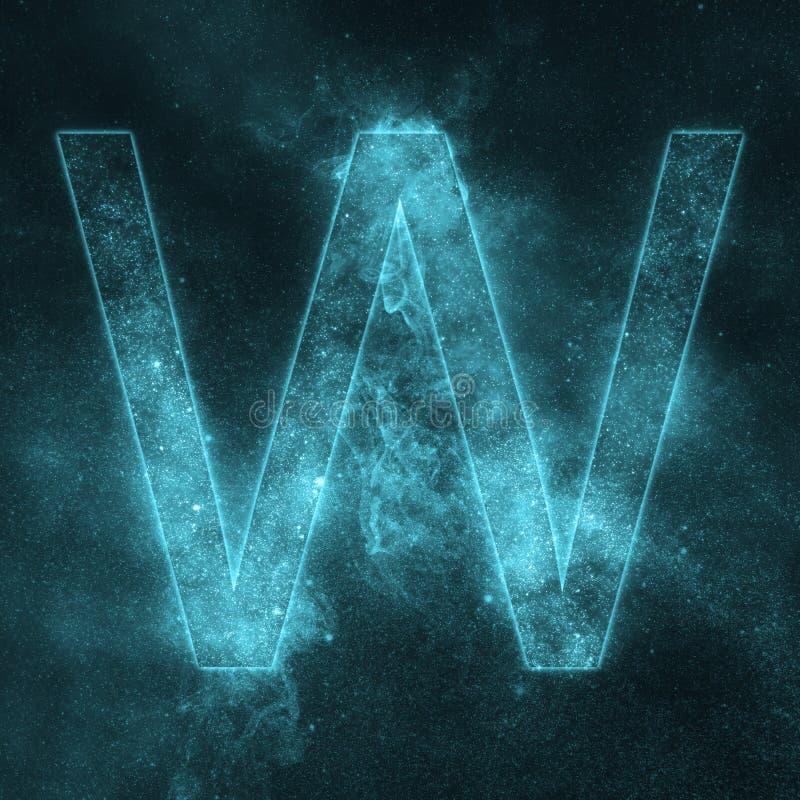Letter W alphabet symbol. Space Letter, Night Sky Letter. Space letters stock illustration
