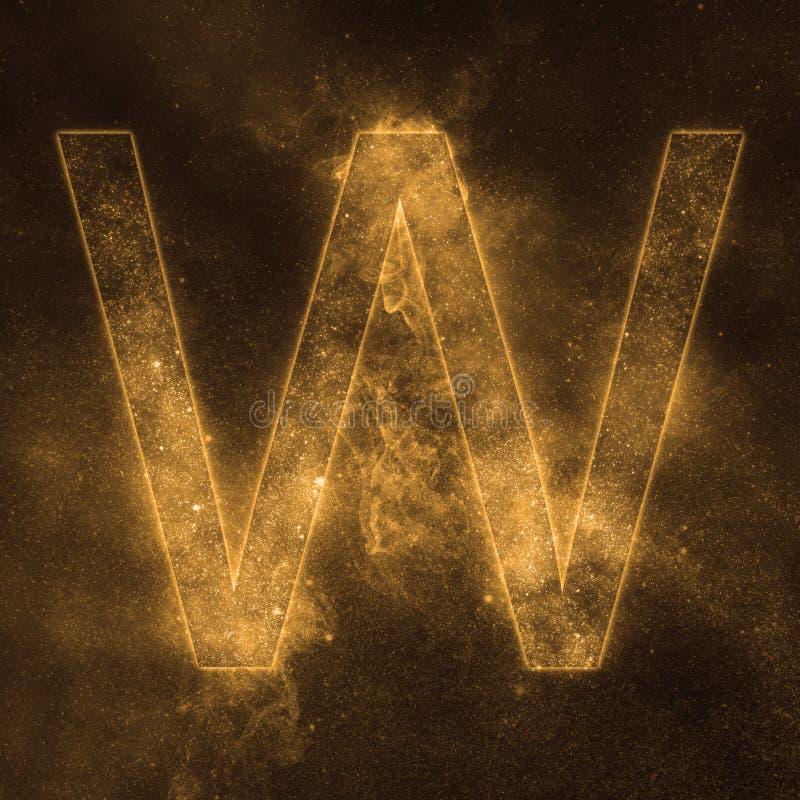 Letter W alphabet symbol. Space Letter, Night Sky Letter. Space letters vector illustration