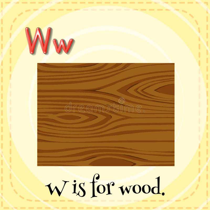 Letter W. Flashcard letter W is for wood vector illustration