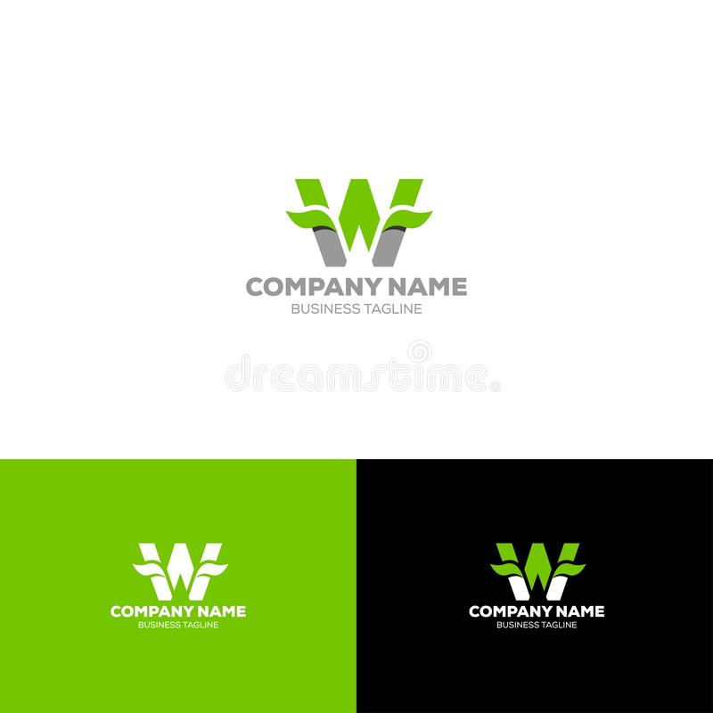 Letter W leave logo template. For organic, agriculture, food beverage company royalty free illustration