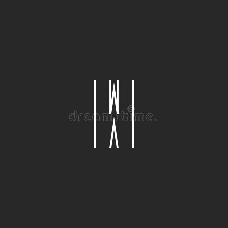 Letter W logo minimal monogram style, creative design element, graphic style wave icon royalty free illustration