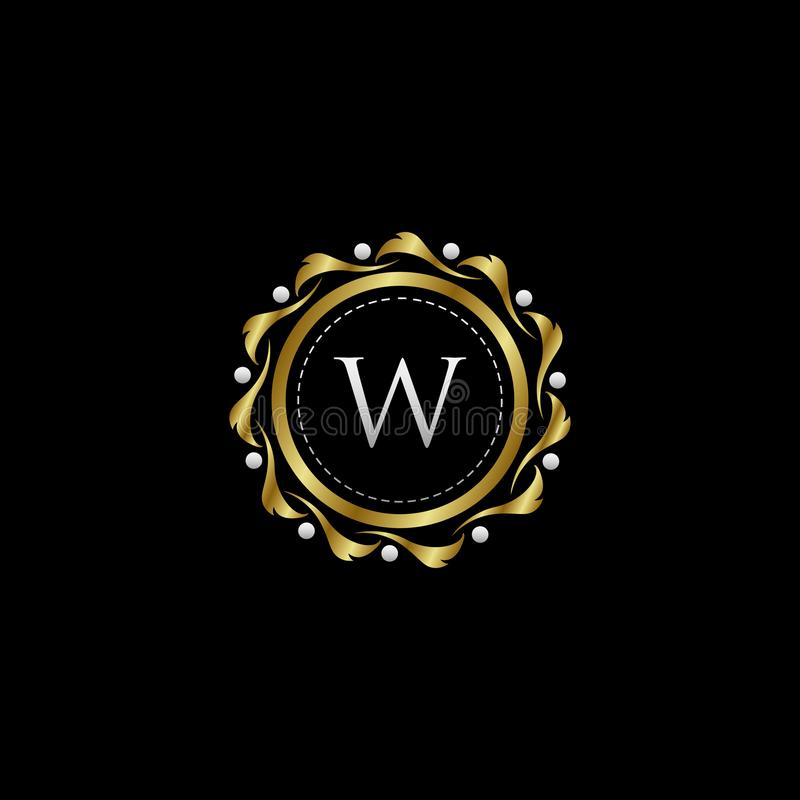 Letter W Luxury Boutique Circle Badge Template Logo. Vector, suitable with classy and vintage theme stock illustration
