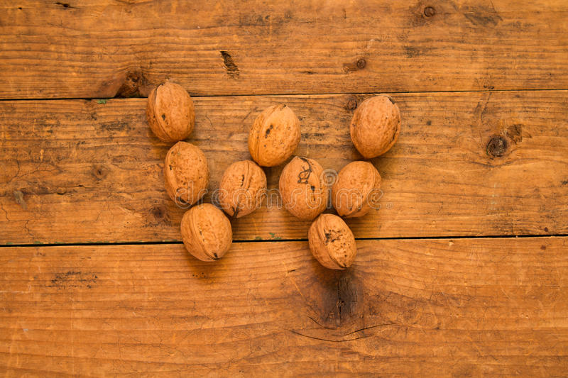 Letter W made from walnuts royalty free stock photos