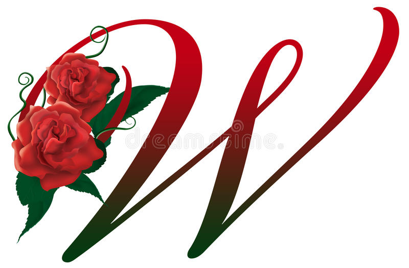 Download Letter W Red Floral Illustration Stock Photo