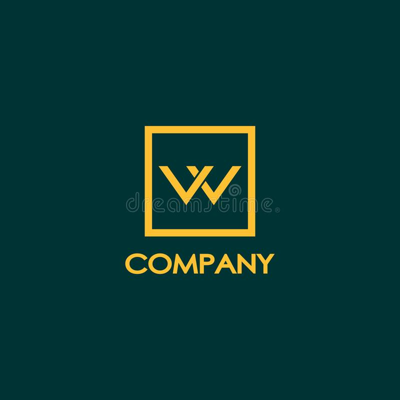 Letter W or VV or VW Logo Design Template,Orange, Gold, Brown, Dark Green Background. Box, Rectangle, Square Logo Concept, Simple and Clean, Strong & Bold stock illustration