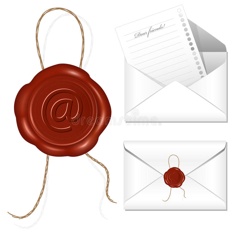 Letter with wax seal. stock illustration