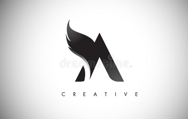 A Letter Wings Logo Design with Black Bird Fly Wing Icon. stock illustration