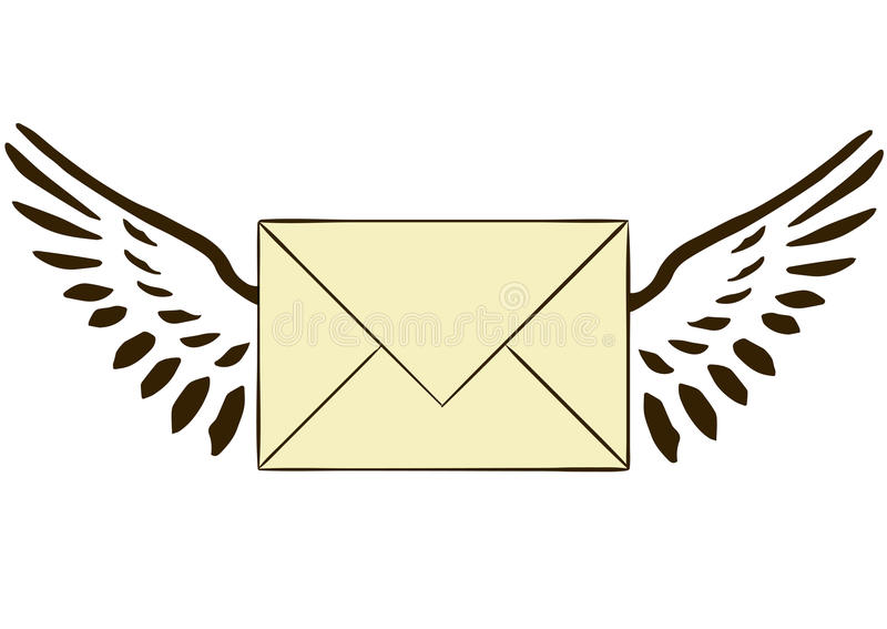 The letter with wings. On a white background vector illustration