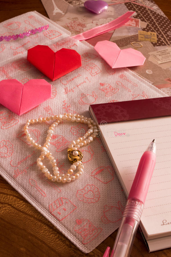Letter Writing Pen On Valentine\'s Day, Hearts Origami And A Brac ...