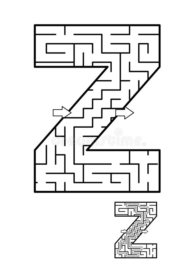 Free Letter X Maze Game For Kids Stock Image - 108030741